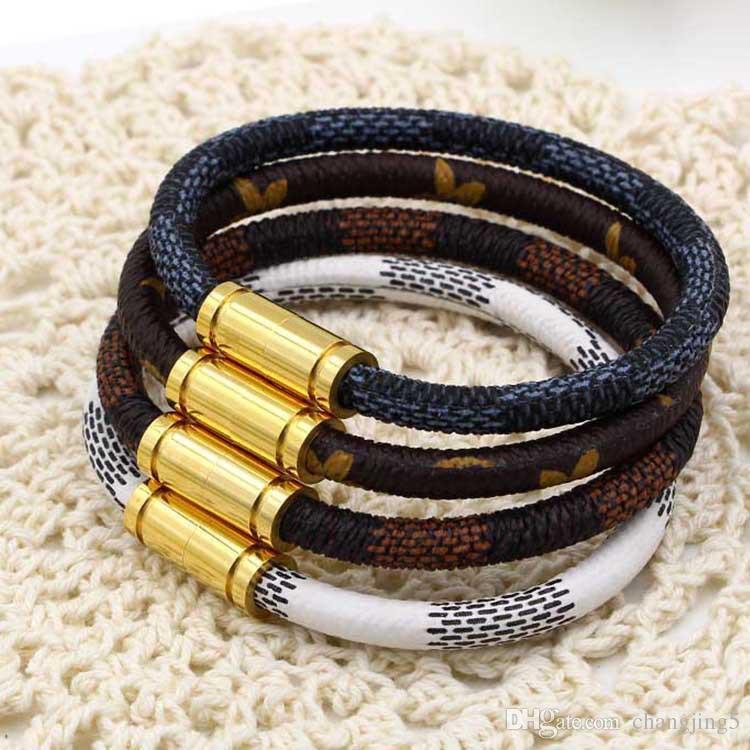 Joyería de lujo de la nueva marca de moda del acero inoxidable 316L pulseras de los brazaletes Pulseiras pulseras de cuero para los hombres de las mujeres de regalos /