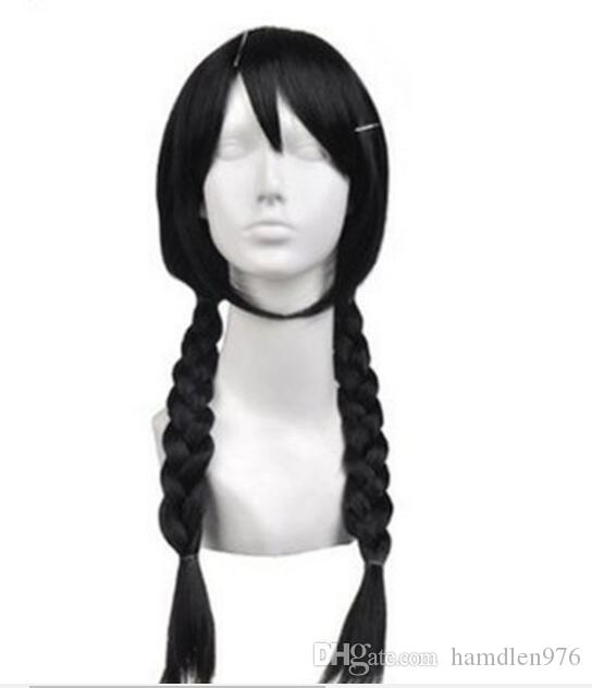 Free shipping>>>New Hot Sell ! fashion Black Braid double ponytail Cosplay Wig