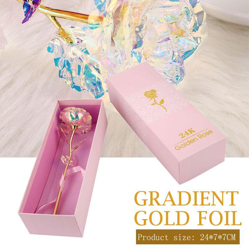 Folha de ouro do arco-íris rose flower belo dia dos namorados casamento led festa de presente para casa decoração luminosa