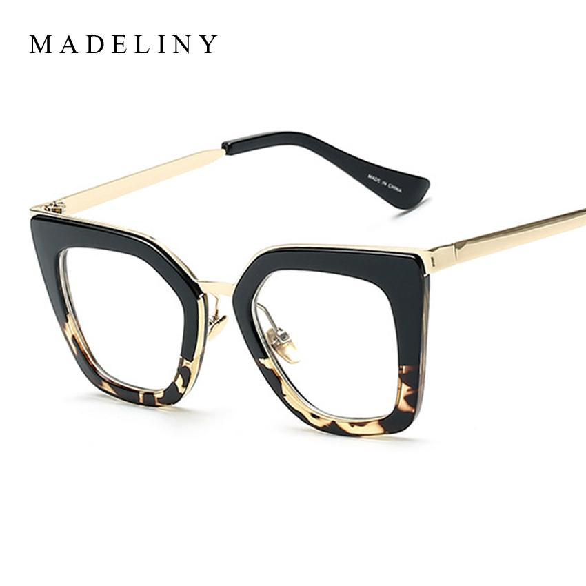 Gros- MADELINY récent Cadre Femmes Cat Eyeglass Lunettes demi-Alloy Cadre lunettes classique lentille claire UV400 MA179
