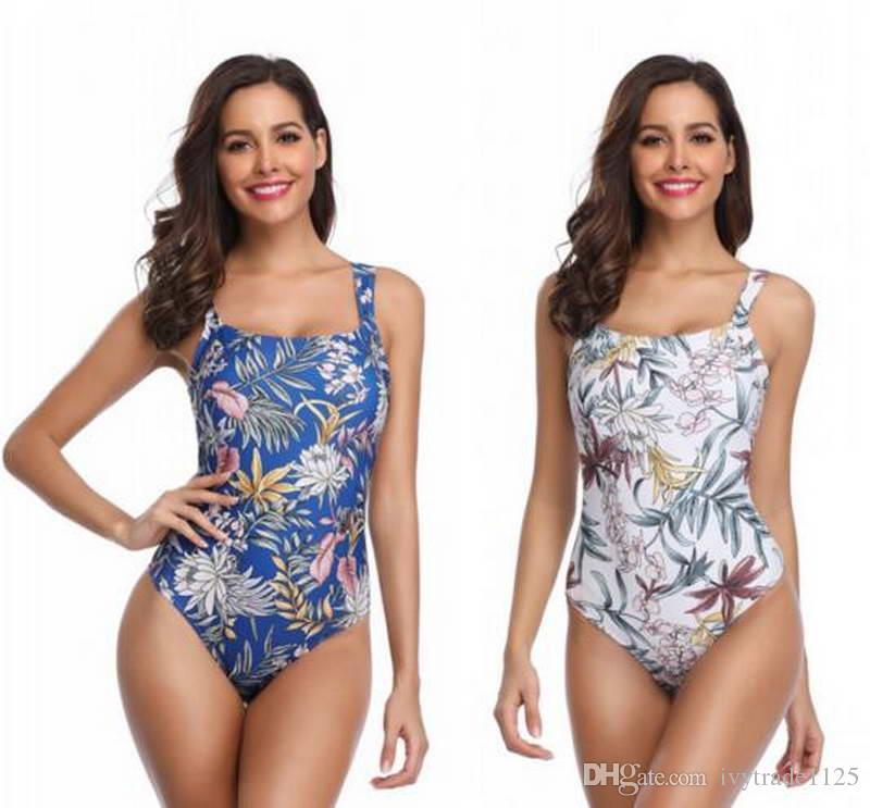 NUEVAS mujeres BIKINI one Pieces full flowers design blue white Swimsuit Summer beach traje de baño para mujer bikini señora traje de baño shipt libre