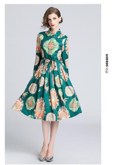 Estación europea otoño nuevo polo cuello manga larga cintura delgada vestido estampado de moda