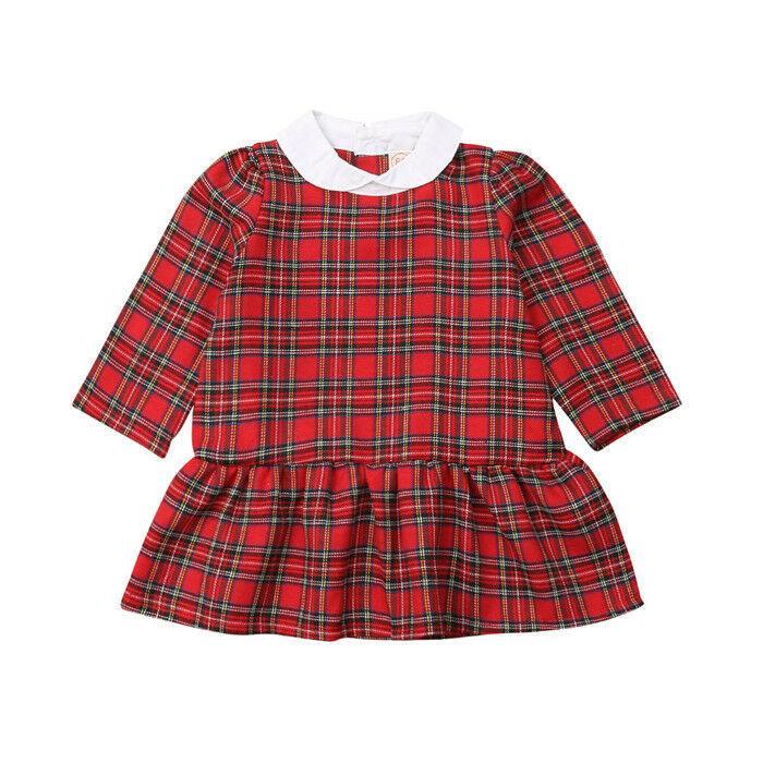 6M-4T Bebek Çocuk Kız Bebek Noel Ekose fırfır Parti Tutu Elbise Giyim Çocuk Elbise