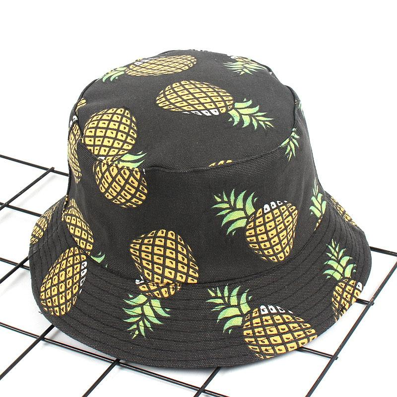 Frucht-Ananas-Druck Doppelseitiger Wear Fischer-Hut Basin Cap Freizeit Reisen im Freien Sonnenhut Schwarz