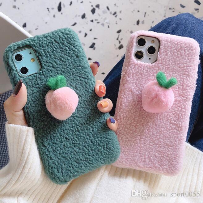 1pcs venta caliente caliente felpa del invierno de la caja del teléfono para las mujeres Iphone 6S 7 8 Xr Xs 11 Caja protectora Pro Max Plus resistente a los golpes