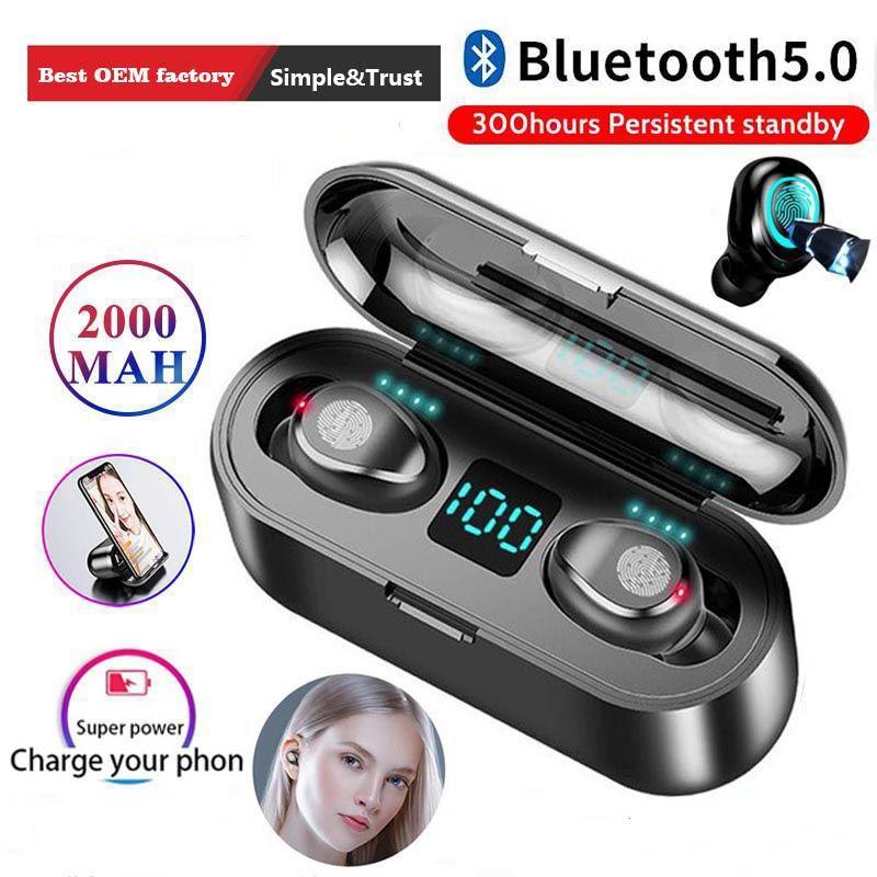 لاسلكيا سماعة بلوتوث 5. 0 F9 TWS Sports Denoise Bass Bluetooth Led Display Headset With Microphone 2000mAh Powerbank