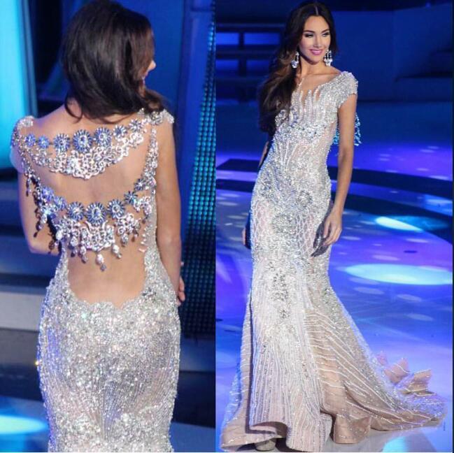 Вечернее платье длинное платье русалка мисс вселенная серебряные кристаллы Кейшия Каур Коктейль платья 0027
