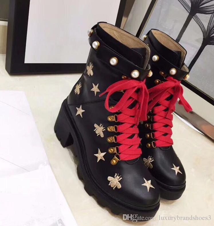 2020 Luxury designer boots Leather ankle boot chunky heel Martin shoes Print Leather Platform Desert Lace-up Boot 5cm 10 colors size 35-42