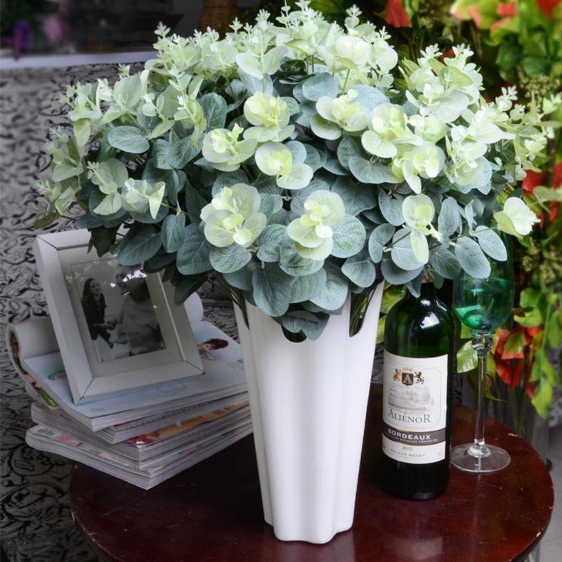 16 رؤساء الأوكالبتوس يترك الحرير الاصطناعي الزهور ترتيب شجرة نبات باقة فو الخضرة اكليلا المنزل diy الديكور A7230