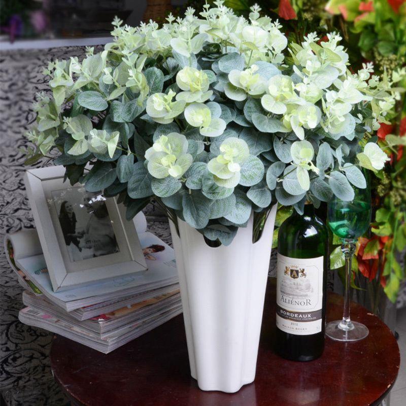 16 Cabezas de Eucalipto Hojas de Seda Flores Artificiales Arreglo Árbol Bouquet Faux Follaje Guirnalda Inicio Decoración Bricolaje A7230