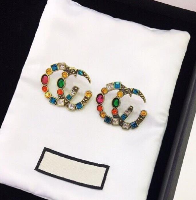 HOT marque ont des timbres cc diamants de couleur boucles d'oreilles de marque pour femmes dame Party amateurs de mariage cadeau engagement LZ530 bijoux de luxe