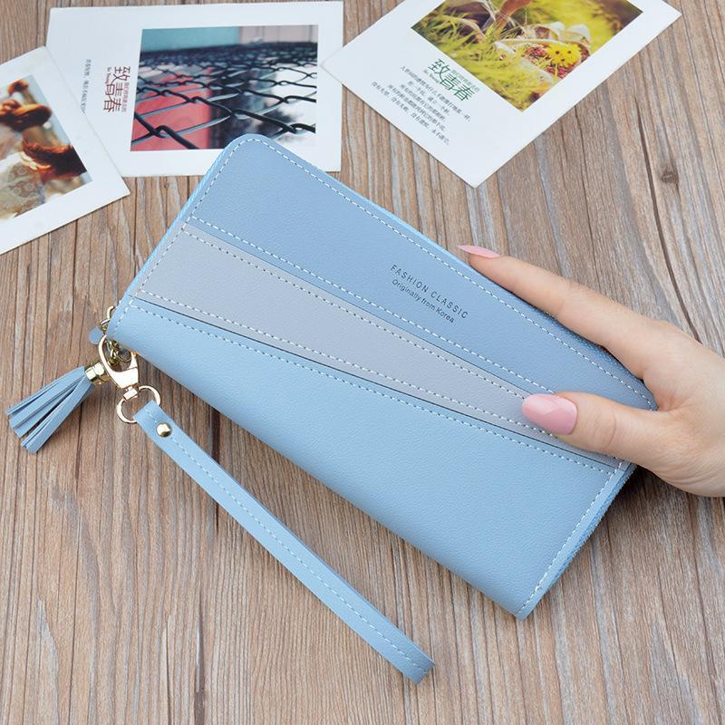 Elegante raccoglitore della signora cuoio genuino delle donne lunghe Zipper Wallet signore pochette borsa 2020 Nuova femmina di lusso della rappezzatura rivestite Portamonete