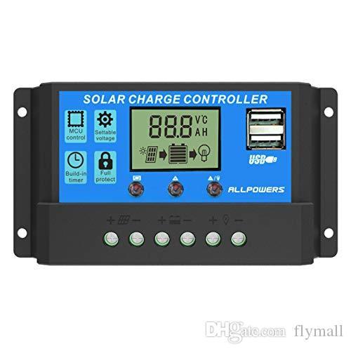 10A 20A 30A 40A Контроллер заряда панели солнечных батарей 12V 24V Dual USB Регулятор зарядки Регулируемый параметр Подсветка ЖК-дисплей и настройка таймера