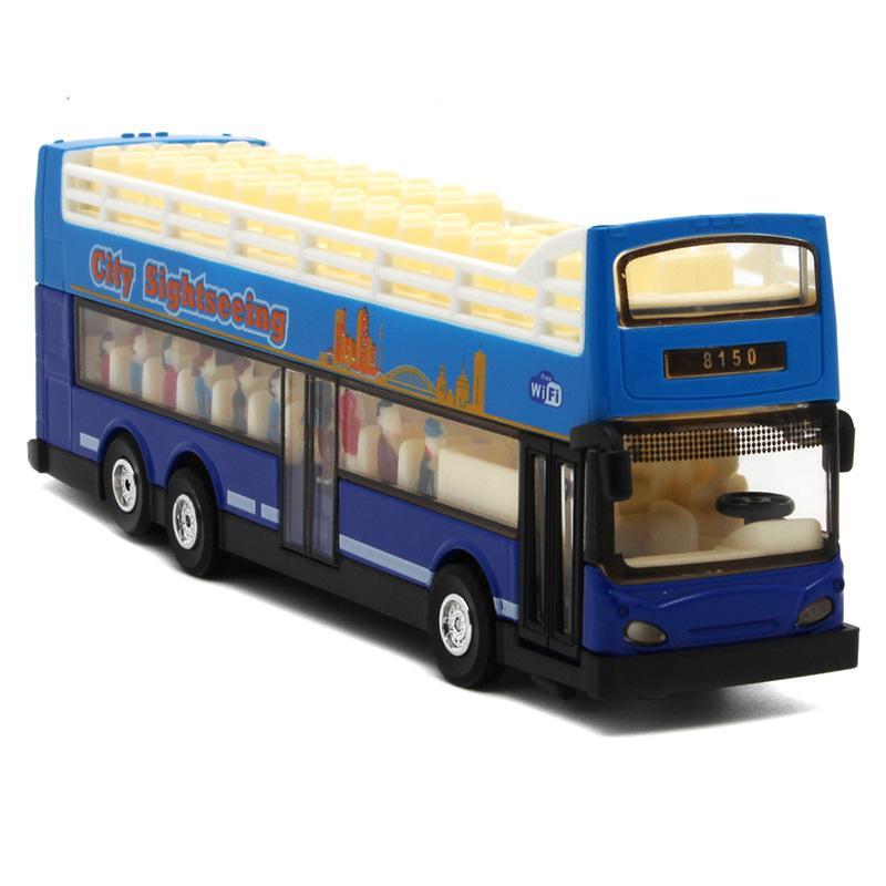 Capa Diyaduo Doble Bus Modelo NIÑOS coches de juguete viaje Bus turístico de aleación de coches de pasajeros de autobuses abierto-Top