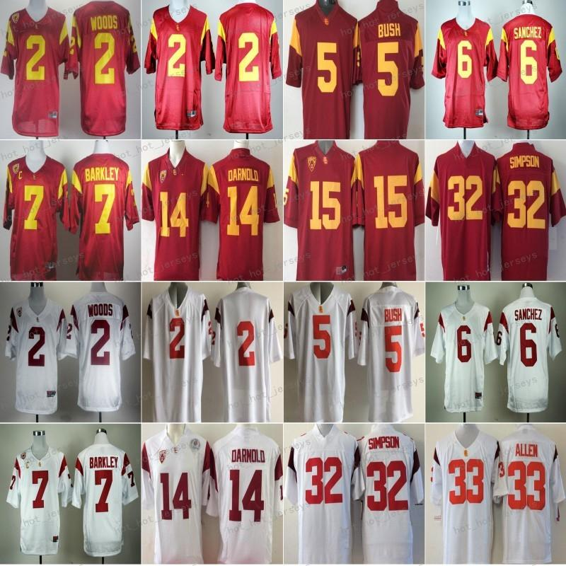 Futbol Jersey USC Trojans Koleji 2 Robert Woods 6 Mark Sanchez 5 Reggie Bush 7 Matt Barkley 14 Sam Darnold 15 Michael Bowman 32 O.J Simps