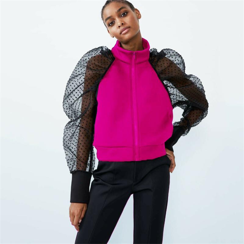 Mode Printemps Automne Mesdames Femme Slim Vestes Chic maille à manches longues Manteau Zip Up Casual fille Outwear Jacket