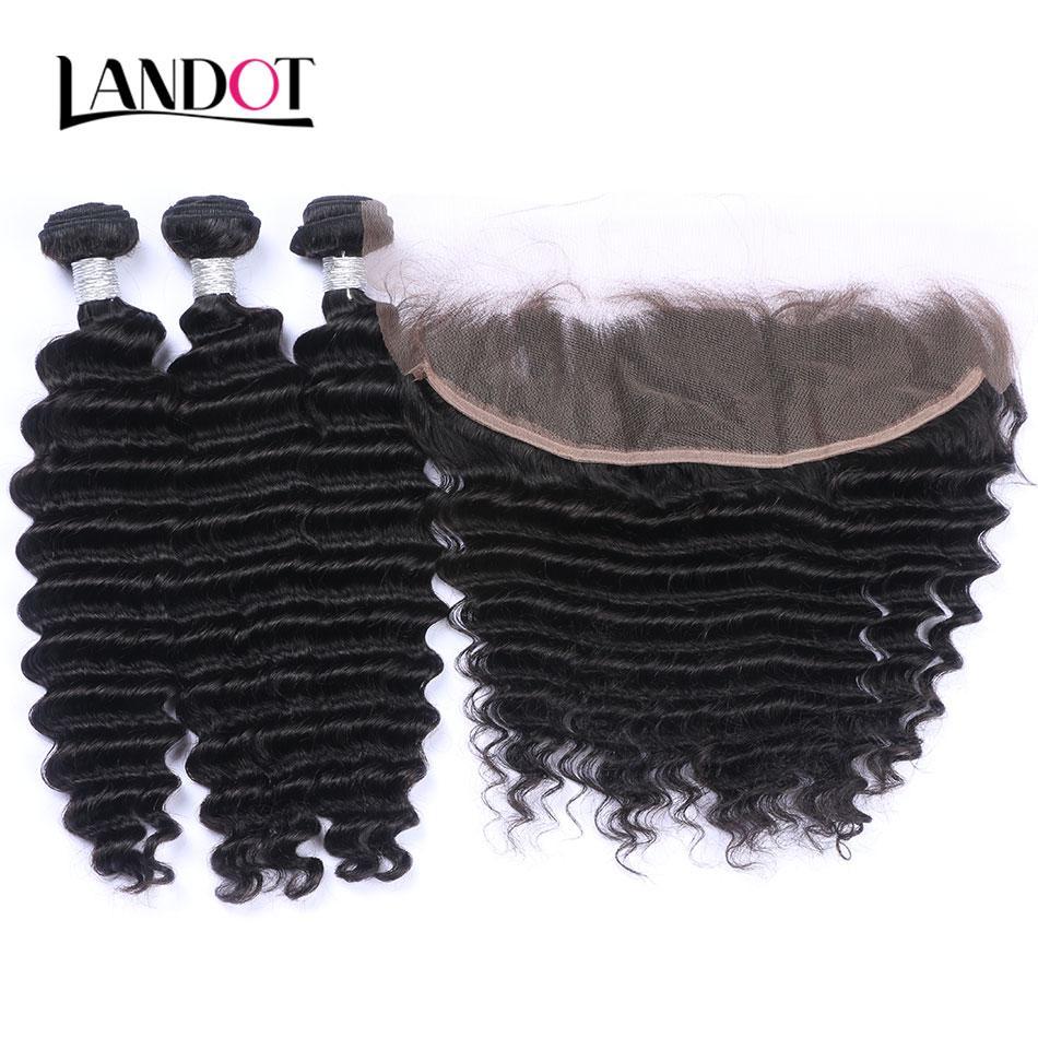 Кружевные фронтальные закрытия с 3 пучками глубокая волна вьющиеся человеческие волосы плетет бразильский перуанский малайзийский Индийский Виргинский Реми волос можно отбелить краской