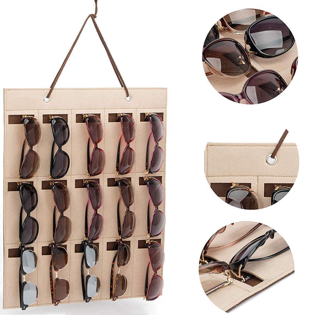 Gafas de sol de múltiples ranuras Organizador colgante de almacenaje del sostenedor pendientes del collar de fieltro