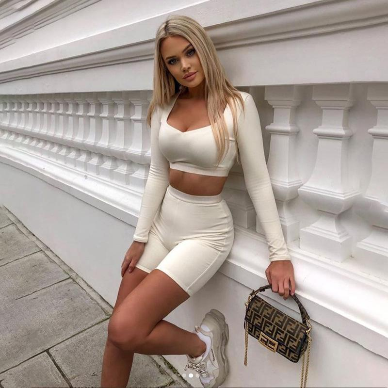 Fashion Women 's Anzug Neuer 2020 Sommersport-Art-beiläufiger Breathable Silm Kurzanzug 2-Farben Ausgewählte Größe S-L