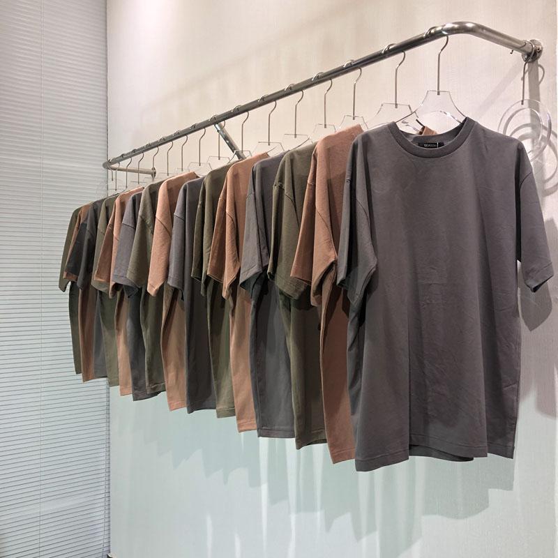 3 색 여름 남성 디자이너 T 셔츠 하이 스트리트 단색 Season6 T 셔츠 패션 짧은 소매 캐주얼을 씻어