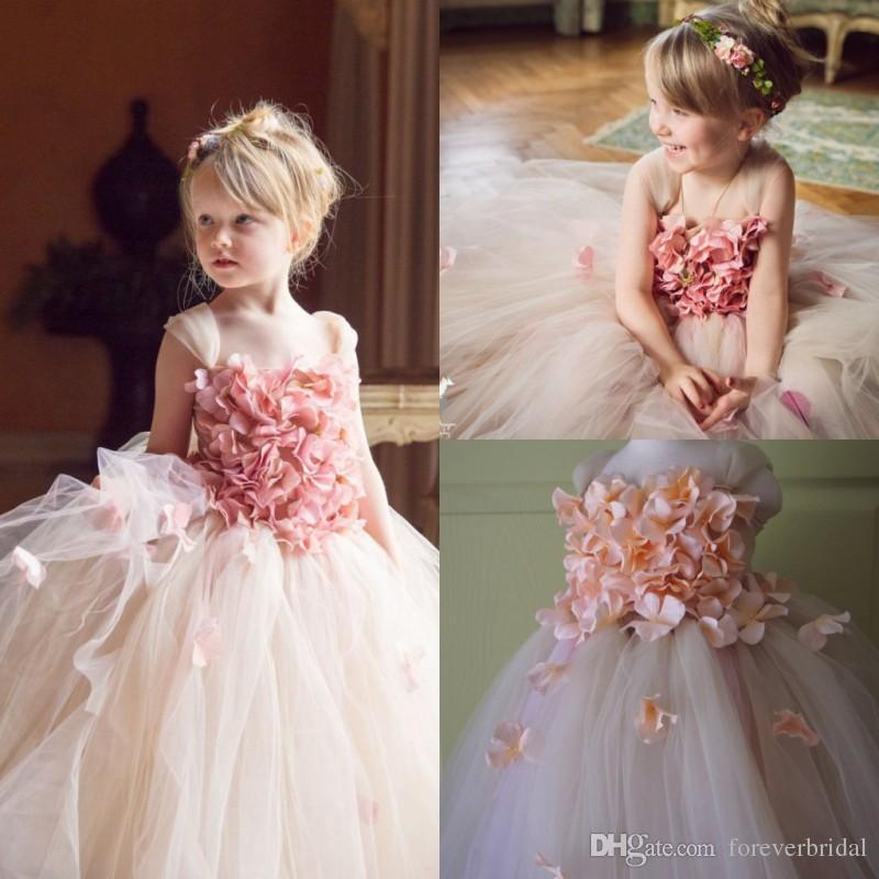 Princess Sleeveless Flower Girls Dresses First Holy Communion Sheer Lace 3D Girls Pageant Gowns Floor Length Dress
