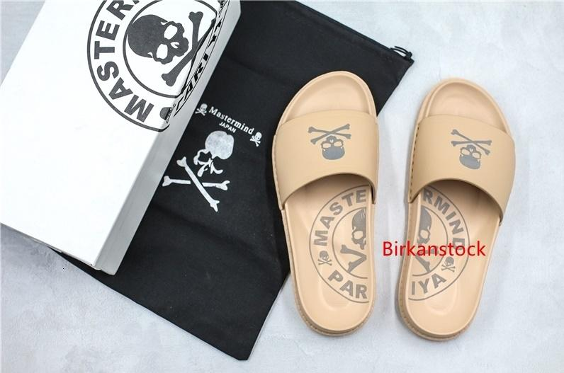 Con polvo bolsa de diseñador MastrrMindJapan MMJ x Stussy 3M reflectante Moda Diapositivas zapatillas para hombre Gris trigo cráneo playa del deslizador de tamaño 38-44
