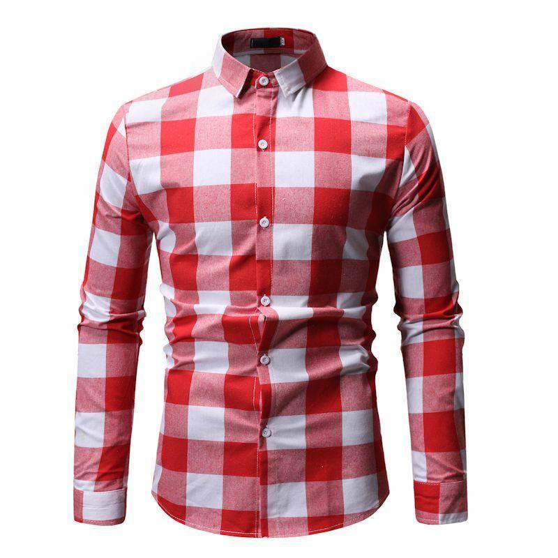 Uzun kollu Erkek Gömlek Ekose Hawaii Gömlek Erkekler Kafes Kontrol Tasarım Bluz erkek giyim Slim fit Gri Kırmızı Camisa masculina