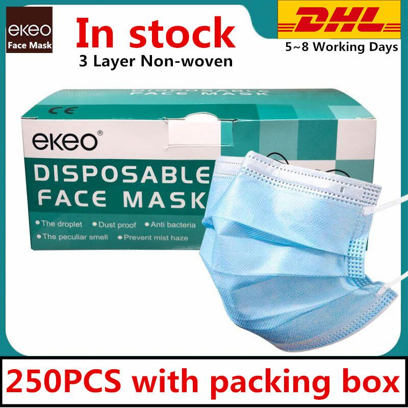 In STOCK 250PCS Disposable Face Mask 3 Layer Ear-loop Dust Mouth Masks Cover 3-Ply Non-woven Disposable Dust Mask Soft Breathable Free DHL