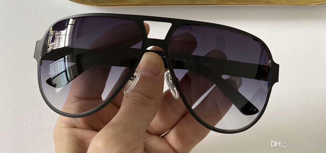 kutusuyla Erkekler Pilot Güneş 2252 / S Metal Mat Siyah / Gri Gradyan Güneş Gözlükleri Erkekler Shades Yeni