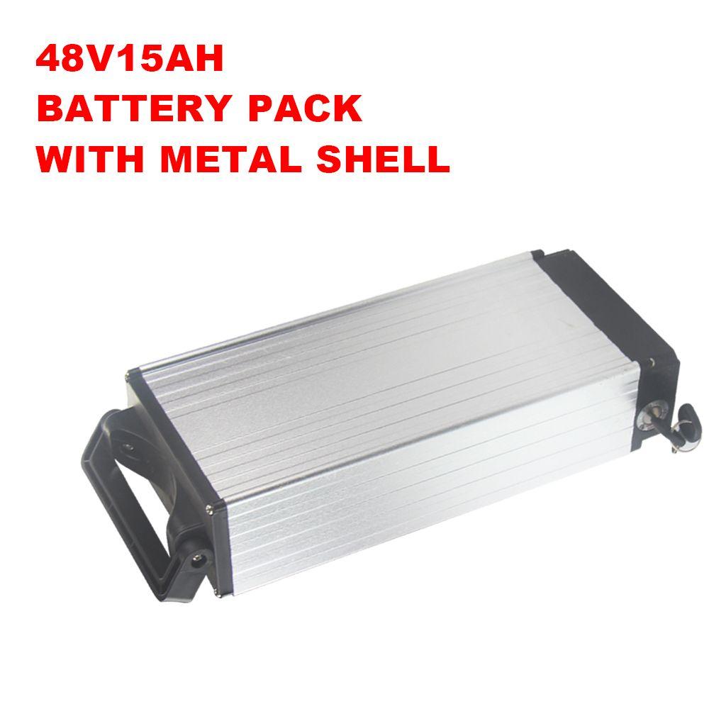 Mit Aluminiumlegierungsoberteil Qualität 48v 15ah Lithiumbatteriesatz für Energie 250W bis 1250W mit Ladegerät 2A geben Sie Verschiffen frei
