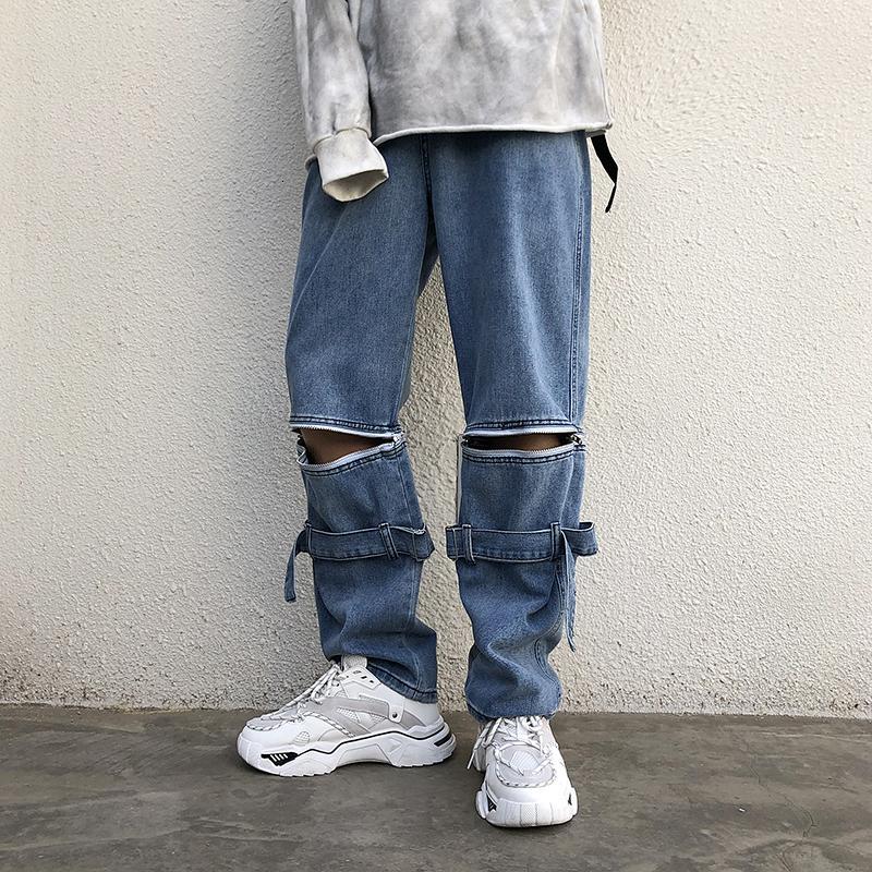 2019 Outono E Inverno Nova Tendência Zipper destacável Função Streamer Jeans Moda Casual cor sólida soltos calças perna larga azuis