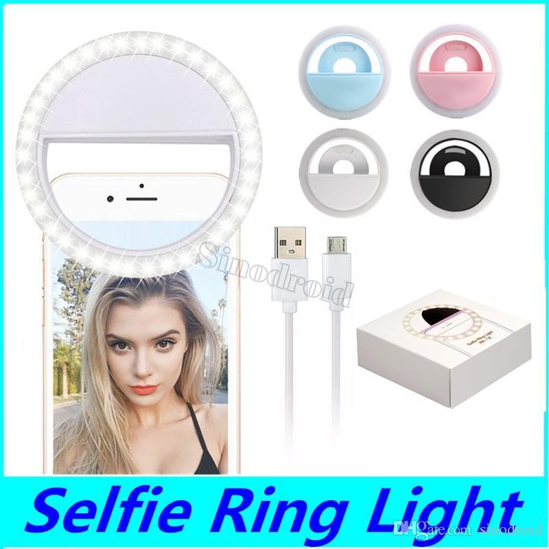 RK12 Rechargeable Universel LED Selfie Lumière Anneau Lumière Flash Lampe Selfie Anneau Éclairage Caméra Photographie Pour iPhone Samsung S10 Plus 50 PCS