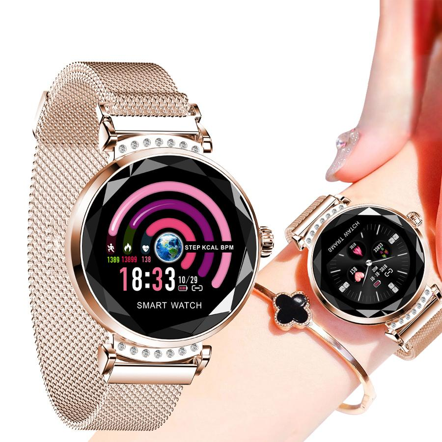 H2 2019 New Luxury Smart Fitness Bracelet Women Blood Pressure Heart Rate Monitoring Wristband Lady Watch Gift For Friend+box Y19062402