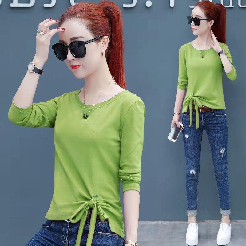 Avokado yeşil uzun kollu T-T Dantel Gömlek 2020 Sonbahar dantel üst ince taban gömlek moda