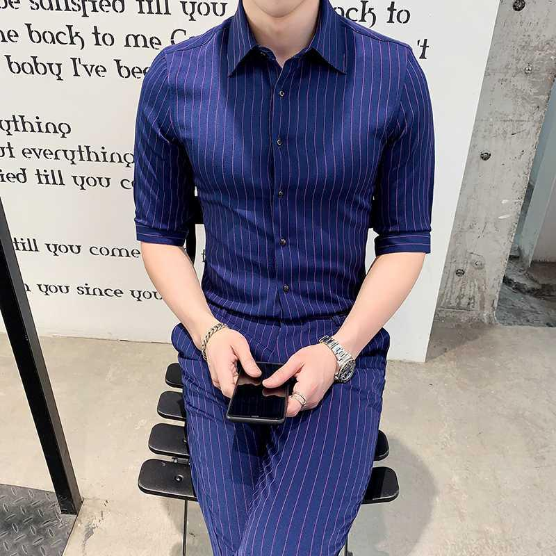 Men's Suits & Blazers British Style Men With Pants Club Terno Slim Fit 2021 Summer Single-breasted White Stripe Mens Dress