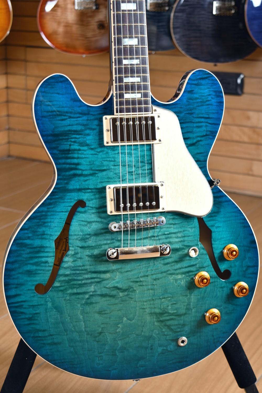 Memphis 335 semi creux aiguré Aquamarine Green Jazz Vert Guitare de guitare Échame Érable Haut de haut en arrière, Petit Pin Ton Port Pont, Block Inlay