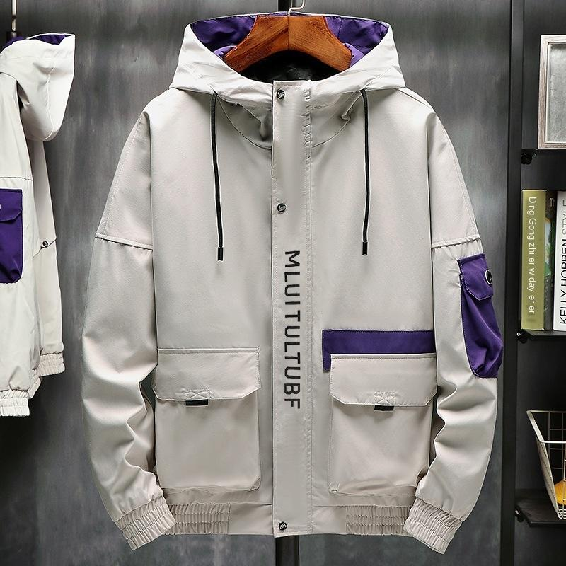 2019 utillaje con capucha de la chaqueta con capucha de vuelo chaqueta con capucha los hombres de moda de otoño