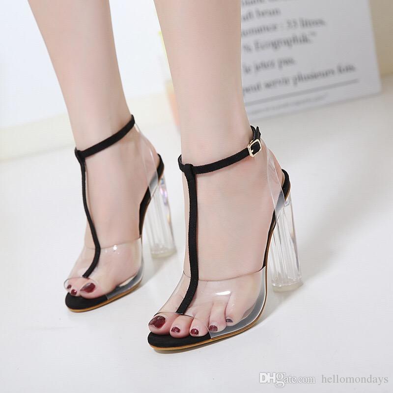 Mais novo Mulheres Bombas Fivela Sandálias de Salto Alto Sapatos Celebridade Vestindo Estilo Simples PVC Transparente Transparente Com Tiras