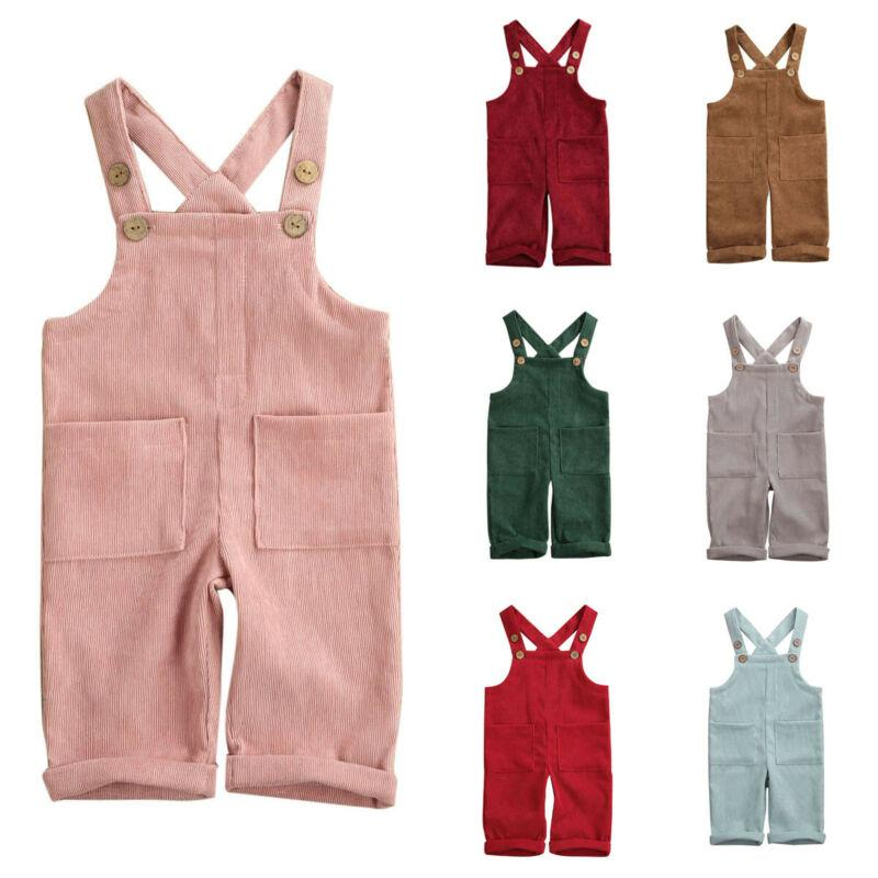 Bebé da criança que menina Corduroy Romper Macacão Bodysuit Conjuntos de roupa Unisex Calças geral sólidos Roupa