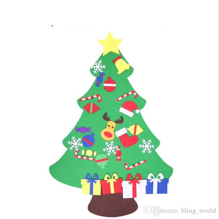Christmas Tree DIY Felt Kids Puzzle Hand-made Toys Creative Xmas Supplies Pendant Home Christmas Party Decoration New LXL632