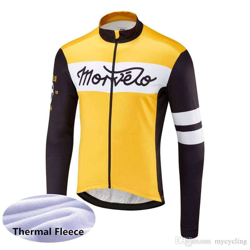 New MORVELO Winter Cycling Jersey 2019 Long Sleeve Thermal Fleece Mountain bike Clothing MTB maillot Ciclismo Outdoor Sportswear 122105Y
