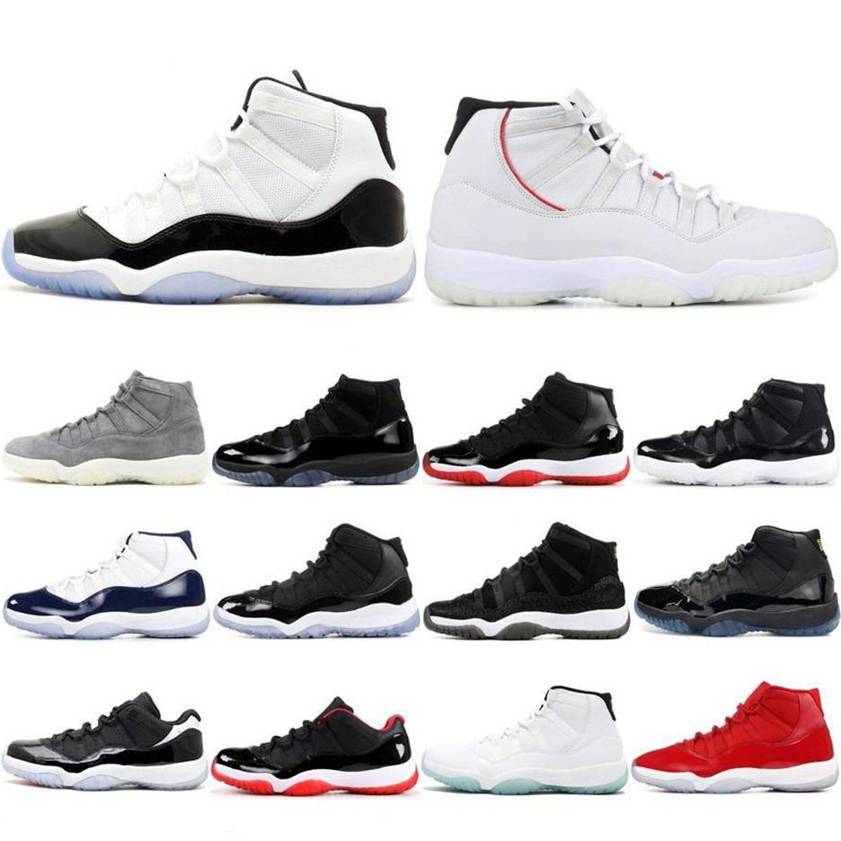 Hommes Chaussures de basket Concord haut 45 23 11 XI 11s Cap robe PRM Héritière Gym Rouge Chicago Platinum Tint Olive Lux Gym Espace