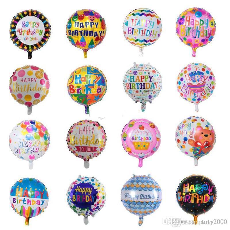 50pcs / lot Mix Design Happy Birthday Ballon 18 Zoll Aufblasbare Blase Aluminiumfolie Ballons Für Kinder Geburtstags-Party Dekorationen Ballons