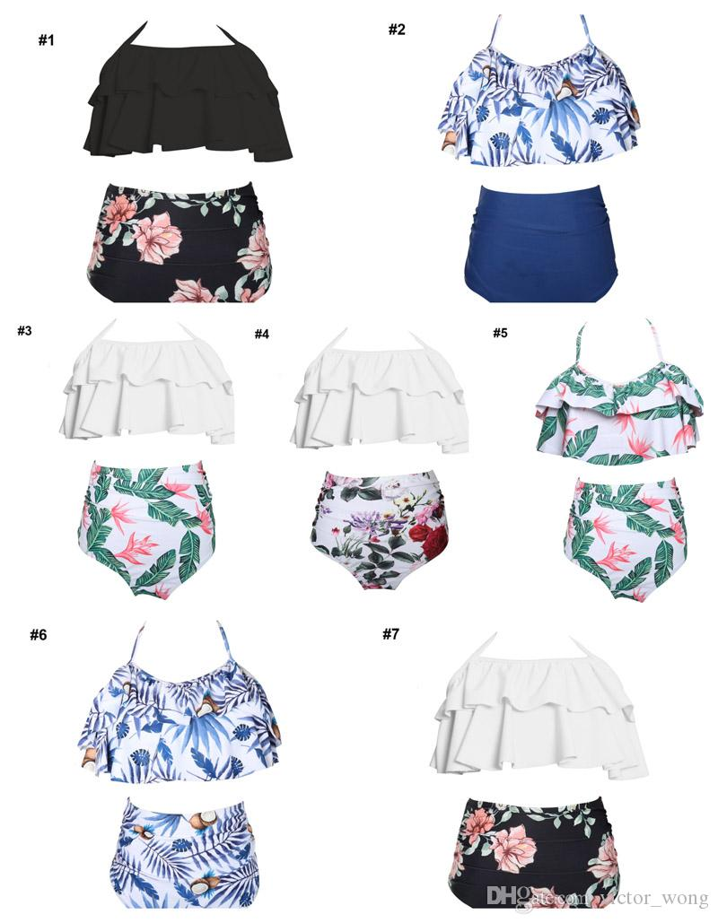The Newest Designer Lovely Printing Bikini Mum & Kids Swimwear Bathing Suits Two-pieces Swimsuit High-waisted Flouncing 7 Designs Beach Suit