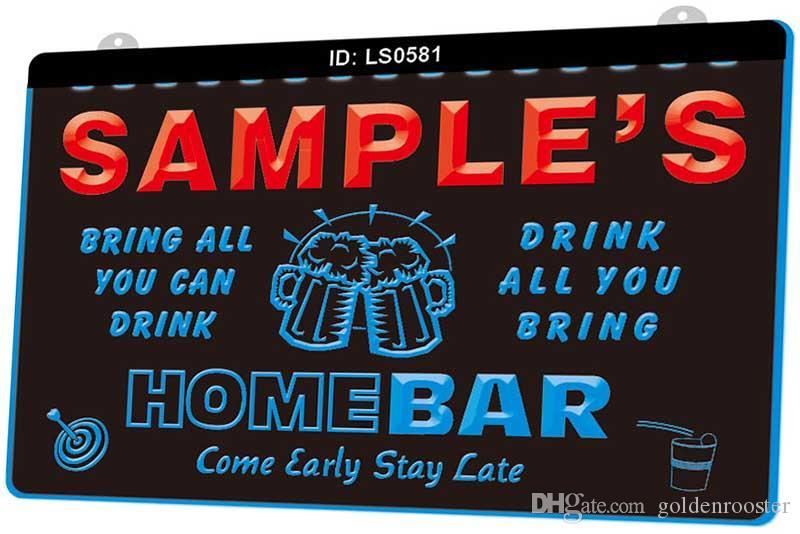 LS0581 Nom Personnalisées famille Accueil Brew Tasse Cheers Bar bière New LED Gravure 3D Lumière signe Personnaliser à la demande de plusieurs couleurs