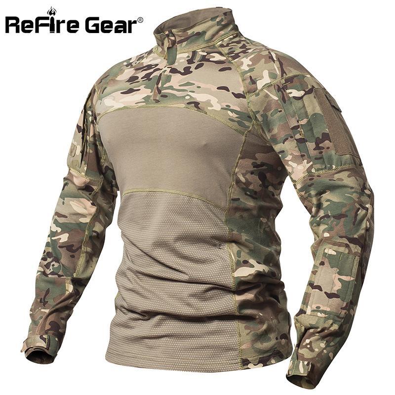 Repire Gear Camisa de combate táctica Hombres Algodón Uniforme militar Camuflaje Camiseta Multicam Us Army Clothes Camo Camisa de manga larga J190525