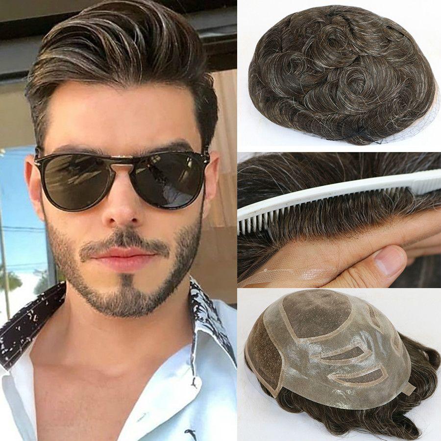 2020 natürliche menschliche haare herren toupee französische spitze front haar ersatzsystem feine mono hairstüre perücken für männer