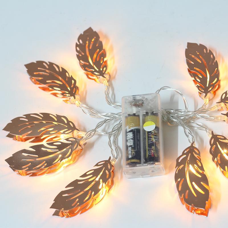 1.5m 10 LED String Light Warm White Lights Lanterna decorativa a forma di foglia di piume di metallo in metallo per camera da letto 9tf E1