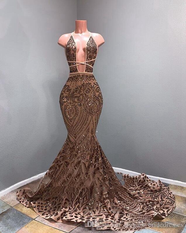 Longues robes de bal étincelantes 2019 Sexy Sirène Style Deep Col V-Col Ville Africaine Black Rose Gold Gold Robes de promo Robes de soirée officielle Robes de soirée