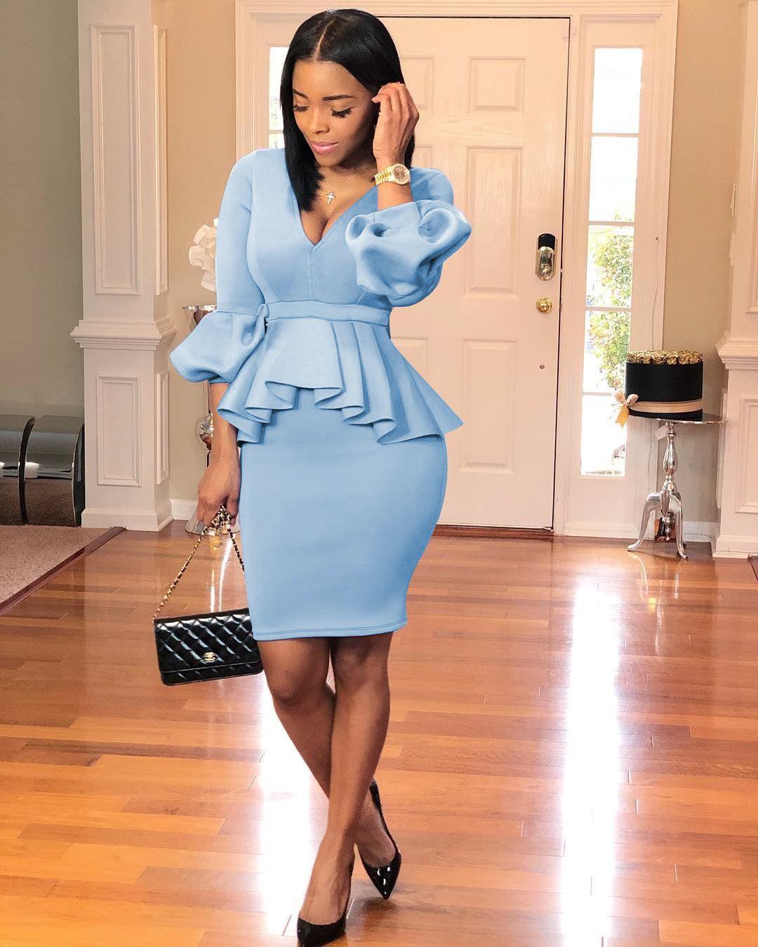 S M L XL XXL İki Parçalı Set Ofis Elbise Yüksek Kaliteli Katı Renk Fener Kol Çalışma Giyim ZYA819